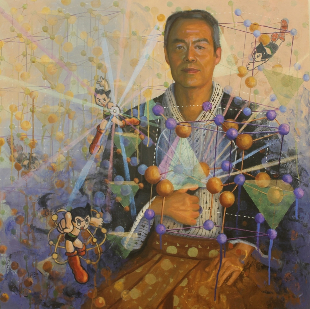 Shuji Nakamura, Nobel Prize Physics 2014, oil on canvas, 30x30