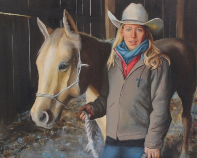 Elizabeth Poett, oil on canvas, 24x32 by Holli Harmon