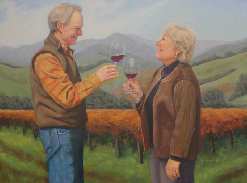 Richard and Thekla Sanford, oil on canvas, 24x30, by Holli Harmon