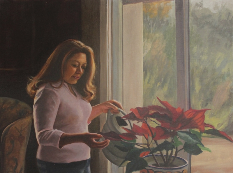Genoveva Gonzalez, oil on linen, 18x24, by Holli Harmon