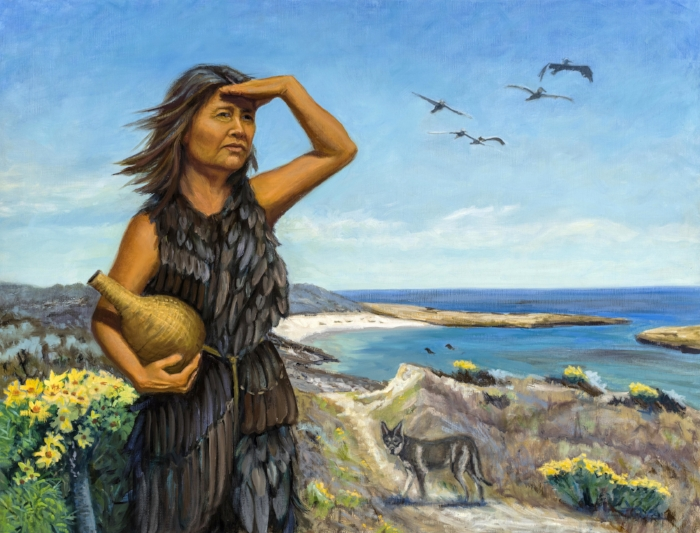 The Lone Woman 26x34 Oil By Holli Harmon  See the painting at the Santa Barbara Museum of Natural History