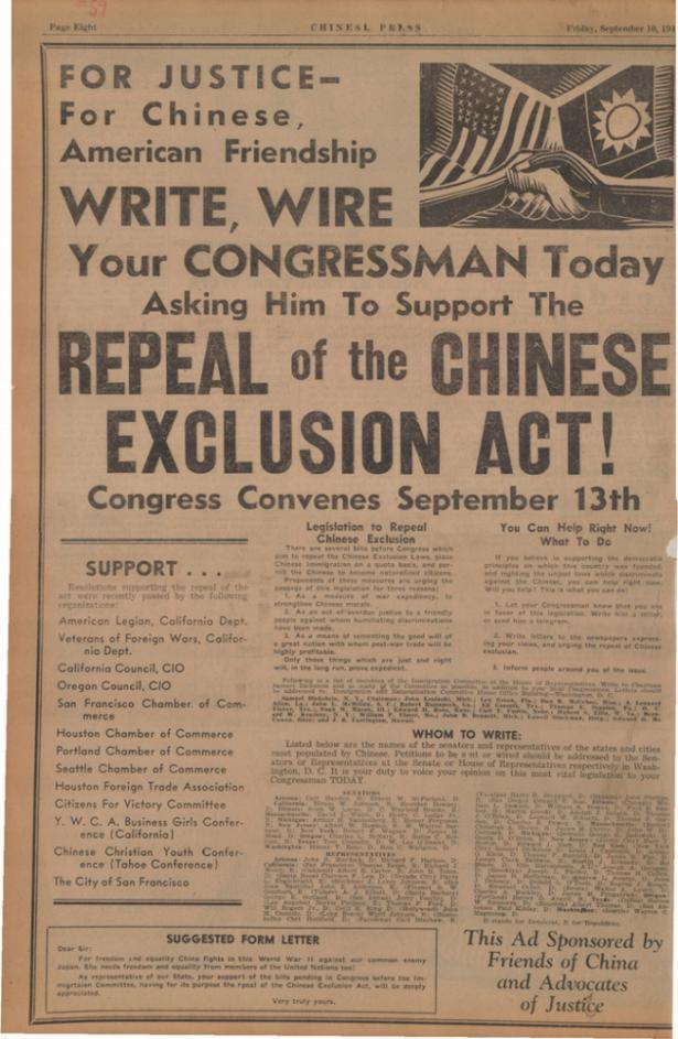 essays about chinese exlusion The burlingame treaty of 1868 stated that chinese people had the right to come to migrate november 09, 2017, from http://wwwwriteworkcom/essay/chinese-exclusion.