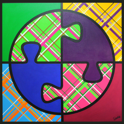 "Shalom - By Christi Scofield   Shalom is the most recent painting from my Pop Up Theology Series 36"" X 36"" Acrylic on Canvas   About Shalom:      Most people associate the Hebrew word ""shalom"" with peace, but it's meaning is much more complex and interesting.      Shalom is a feeling, an intent and an emotion of wholeness, fulfillment, unity, and well-being.  It is the interwoven harmony of God, humans and all of creation in justice, health, tranquility and joyful delight.      In the book  Generous Justice , Tim Keller explains that shalom ""means complete reconciliation, a state of the fullest flourishing in every dimension — physical, emotional, social and spiritual — because all relationships are right, perfect and filled with joy.""     Craig Nessan, in his book  Shalom Church , says: ""The idea of shalom is itself a reflection of a world perfected–where peace, justice, care for creation, and respect for human dignity are grounded in the love of God and neighbor, a restored creation.""      Painting Symbolism:      In creating this painting I felt like the word shalom was so rich with meaning that I wanted to make the painting as simple as possible to focus on the meaning of the word at it's most basic.    The painting is divided into four parts to reflect the different dimensions in which we can experience shalom: physical shalom, emotional shalom, social shalom and spiritual shalom.      The circle represents the feeling of wholeness and fulfillment.  If one of the four dimensions of shalom is not present, this circle can not be complete. The circle combined with the connected puzzle pieces reflect our unity with God and one another.           The stripes are symbolic of a fabric pattern, reminding us that we all make up the fabric of creation and must work together and help one another through our threads of support in creating harmony.  Finally, the bright, bold, cheerful colors reflect the joyful delight brought about by a feeling of shalom."
