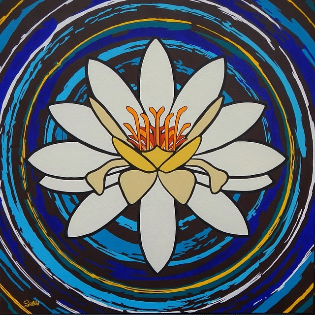 "Emergence - White Lotus Painting 36"" x 36"" acrylic on canvas - The newest edition to my Pop Up Theology series  www.christiscofield.com/emergence-lotus-painting/   To all who are striving to reach triumphantly to the surface….."
