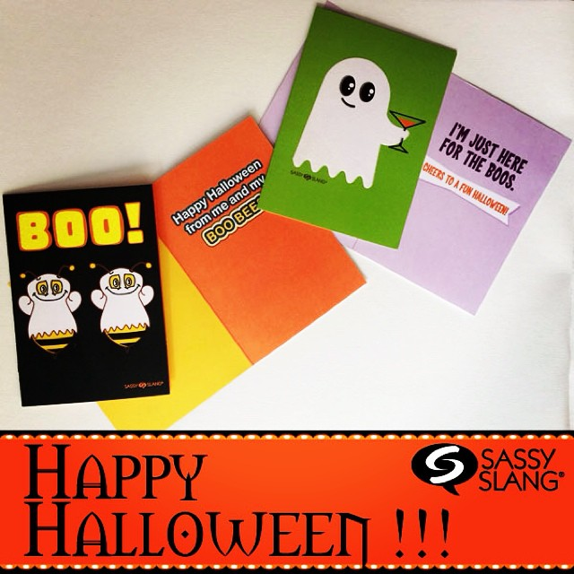 Some of my Halloween Greeting Cards for this year!  You never know what kind of shenanigans will come out of the Icebreaker Entertainment brain trust….. Happy Halloween!!  #halloween #greetingcards #funny #cards #sassyslang #christiscofield #art
