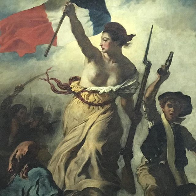 DAY 1 of Cocktails & Curiosities Paris Research! -- Vibrant, fiery, rebellious, and victorious - Delacroix's Liberty Leading the People.  My favorite piece in the Louvre.  Now how to condense the Romanticism movement, French Revolutions, the end of the Enlightenment and the symbol of Marianne into a nugget of a paragraph that will interest a cocktail infused touring group....Ooh la la...Guest writers welcome... #Delacroix #Louvre #Paris #CoctailsandCuriosities