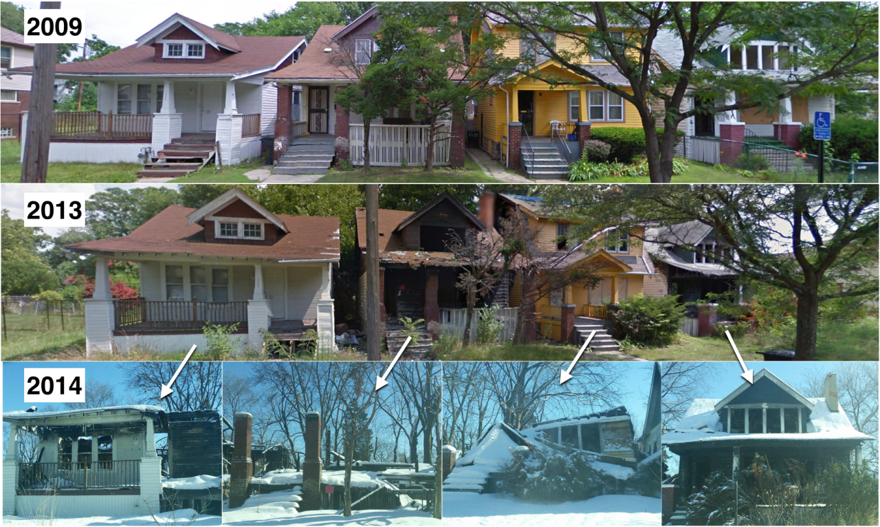 goobingdetroit: Three of these four properties are foreclosed. An interesting variety — two tax foreclosures and one mortgage foreclosure, now owned by Fannie Mae.