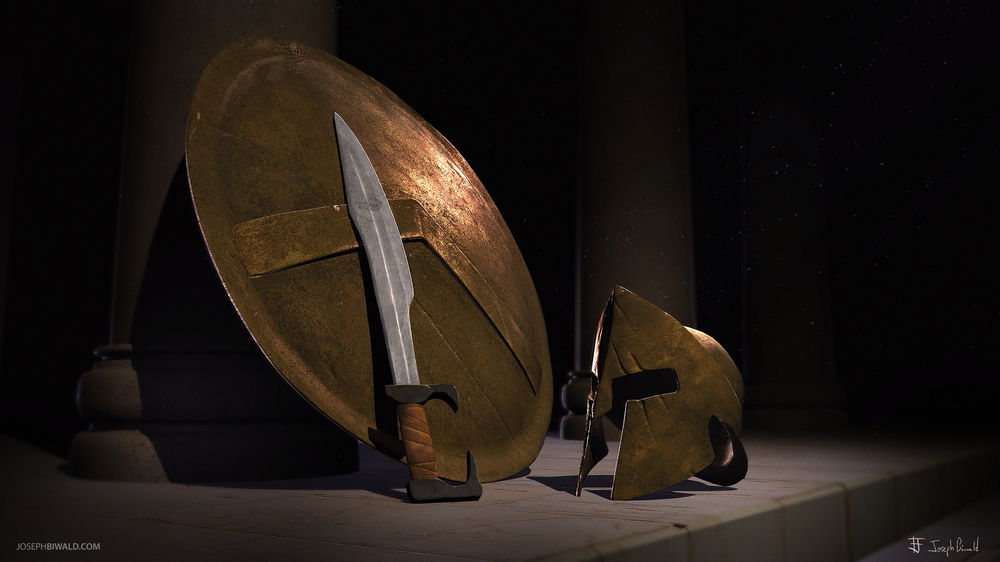 Spartan helmet, sword, and shield Sculpt in zbrush 4r6. Rendered using Mental Ray for Maya. Scene created using Maya.