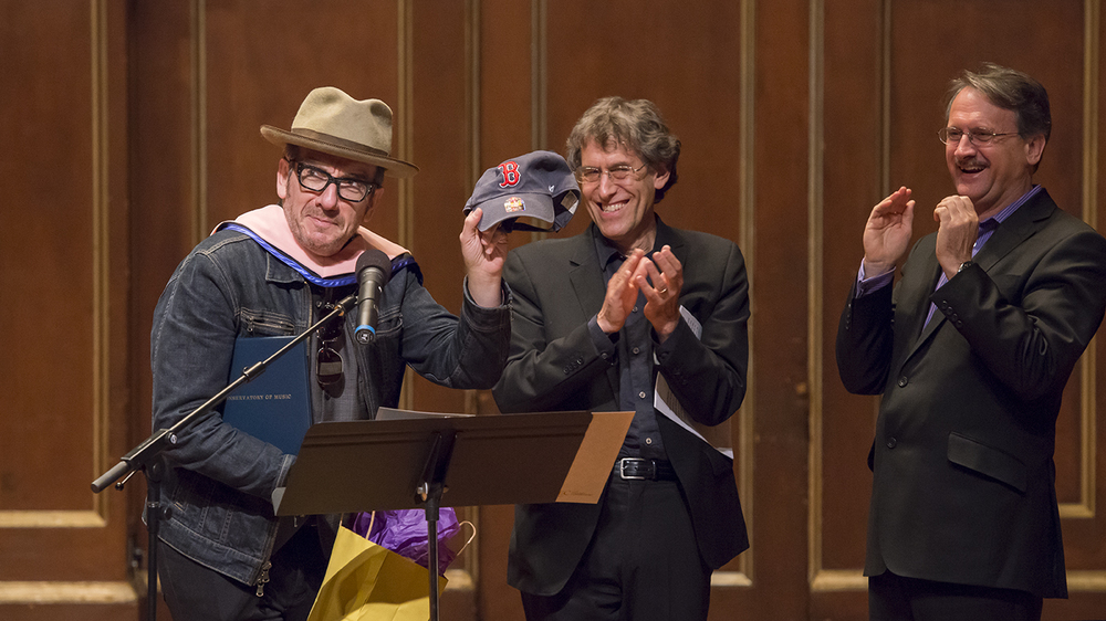 L to R: Elvis Costello, Hankus Netsky, and Tony Woodcock