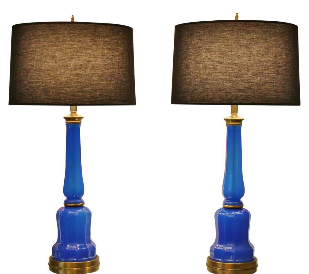Blue Opaline Lamps
