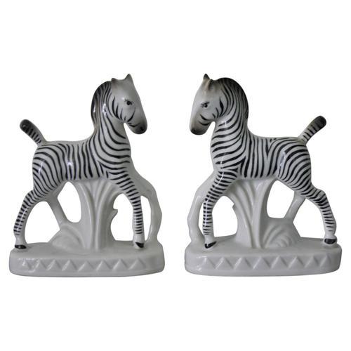 Pair Of Antique Czech Pottery Zebra Spill Vases Jackson Kline