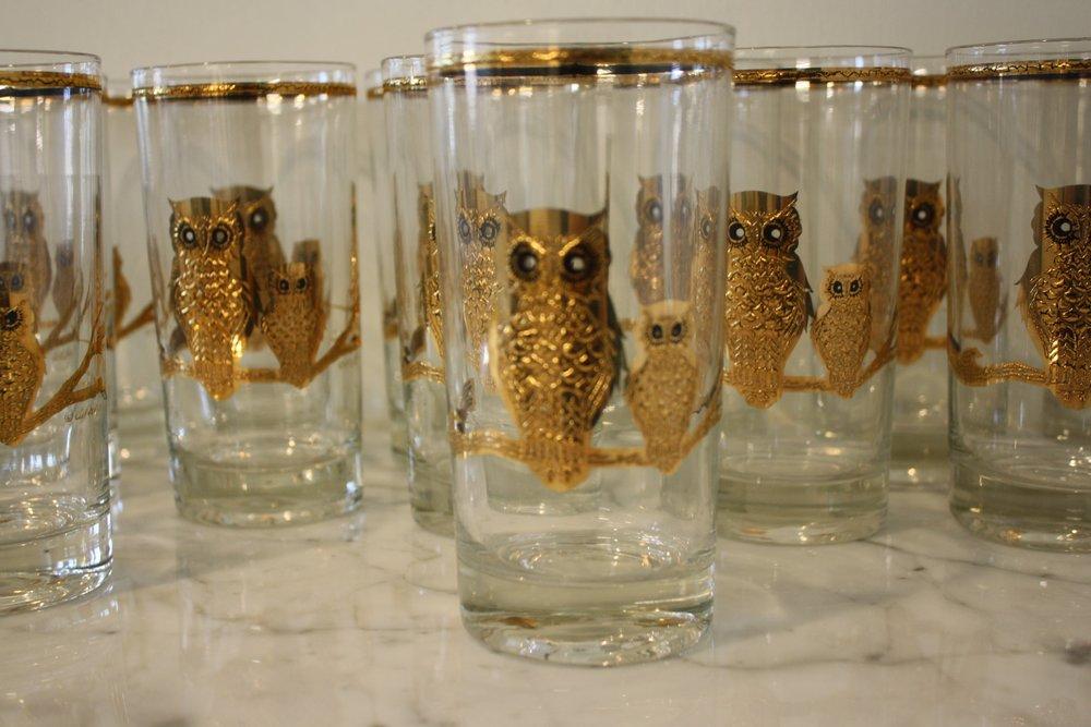 8dee8a3395e Mid-Century Culver Ltd. Gold Owl Glasses - Set of 15 — Jackson Kline