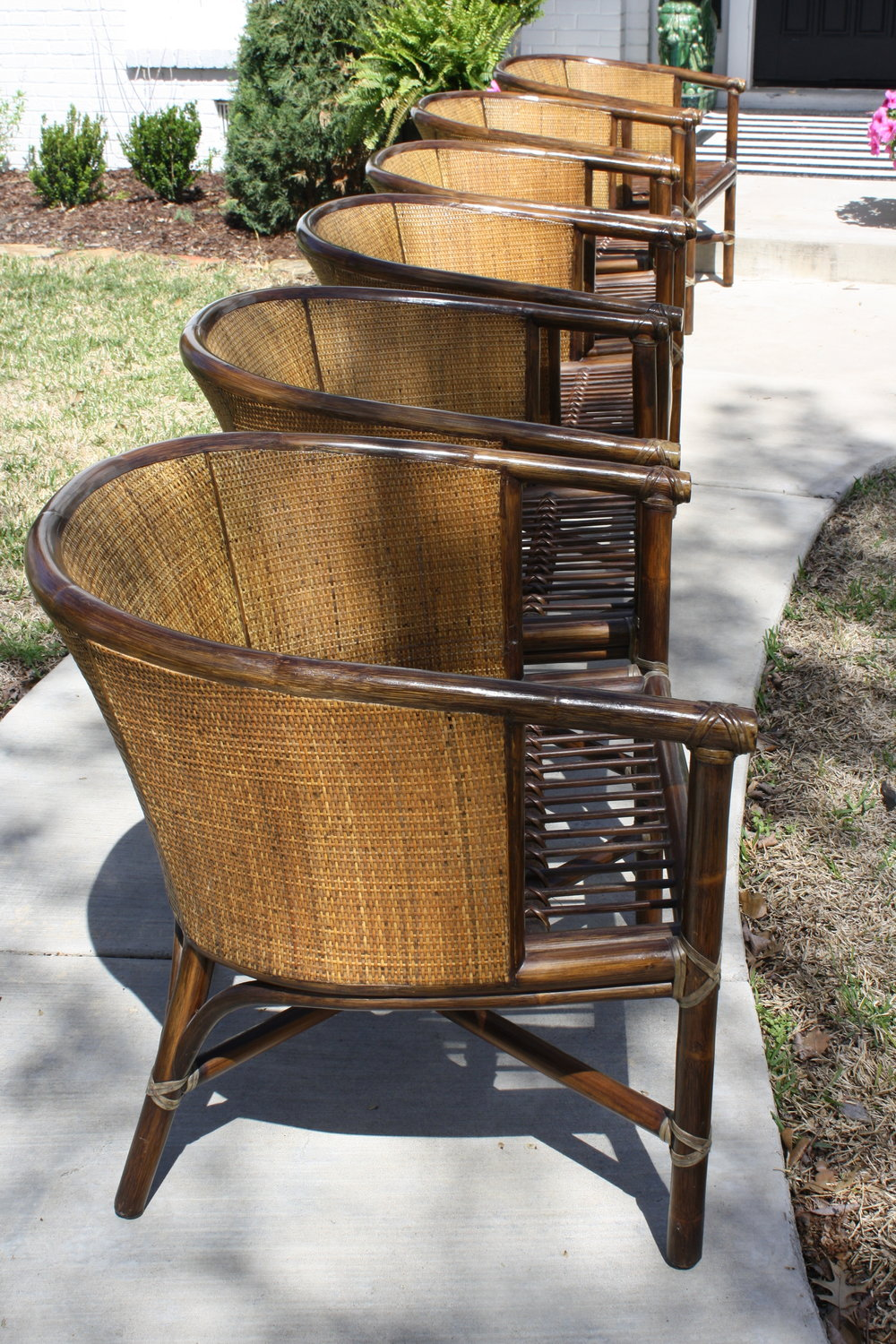 Set Of 6 Vintage McGuire Rattan Barrel Chairs / Dining Chairs / Lounge  Chairs