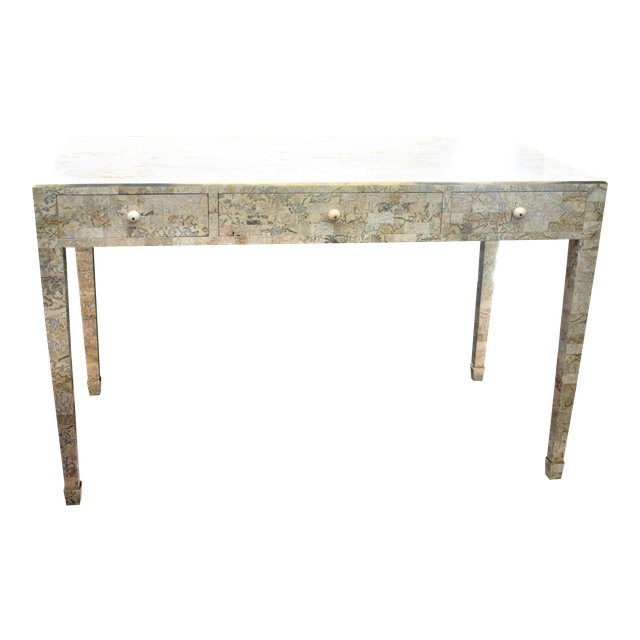 Vintage Maitland Smith Tessellated Stone Desk With Brass Inlay / Console  Table