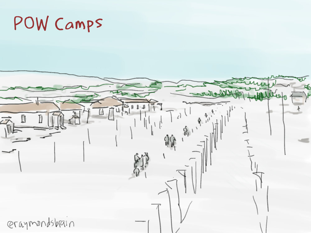 Prisoner of War camps in Ontario were originally set up for German and Italian soldiers captured in Europe. They were also used to incarcerate Japanese Nationals who were leaders in the Japanese Canadian community, and others who protested the separation from their families.  This drawing is based on a photo of Angler, in the winter of 1942. NNM 1994.48.3.a