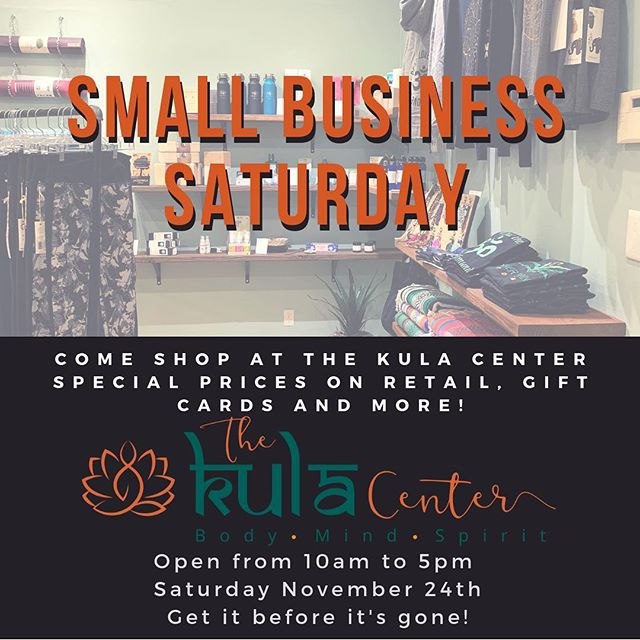 Don't miss out on our Small Business Saturday sale tomorrow.  Absolute lowest prices on Gift Cards. Plus, activewear, accessories, books, and health and wellness supplements ALL on sale. #ShopSmall with us and give them the gift of health this holiday.