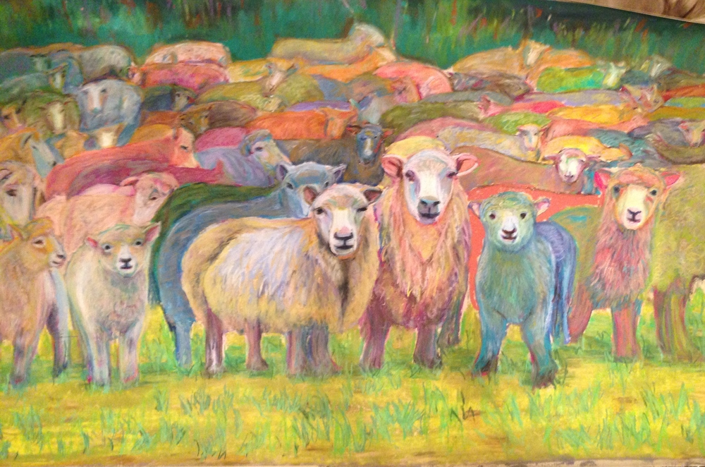 """Who the Sheep See"", 36 x 48 original, FRAMED"