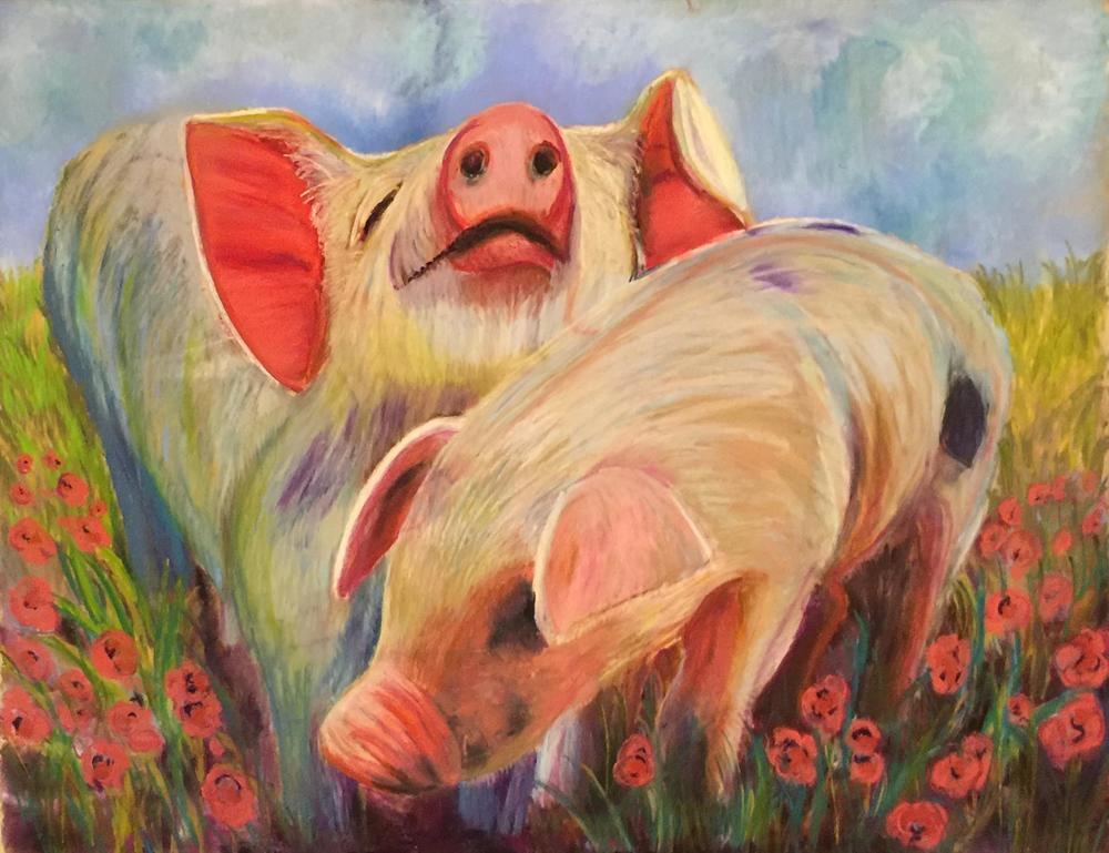2 Pigs in Peonies