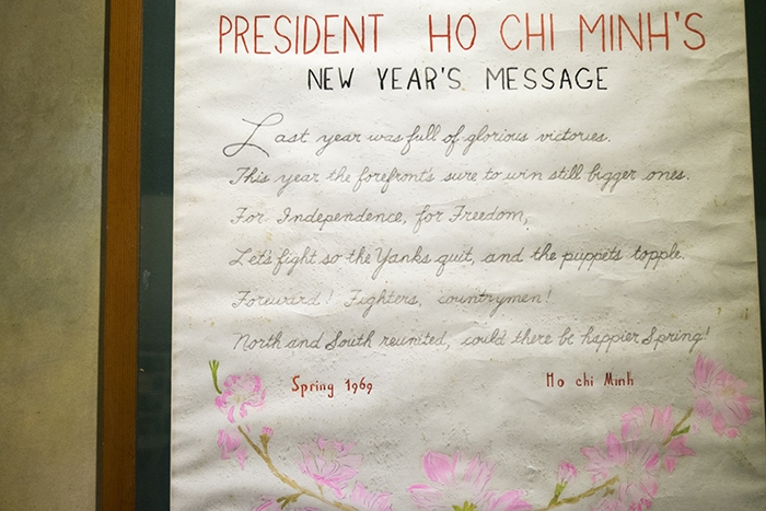An artifact from Hoa Lo Prison Museum written and decorated by American POWs during the Vietnam War.
