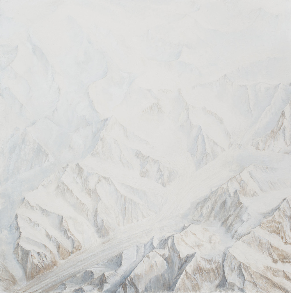 Tian Shan Glacier As recorded from the International Space StationOil and Graphite on Fresco Plaster 2015