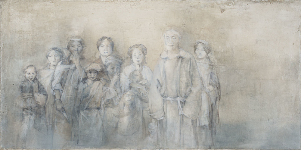 Family , Oil and graphite on Fresco Plaster. 2015