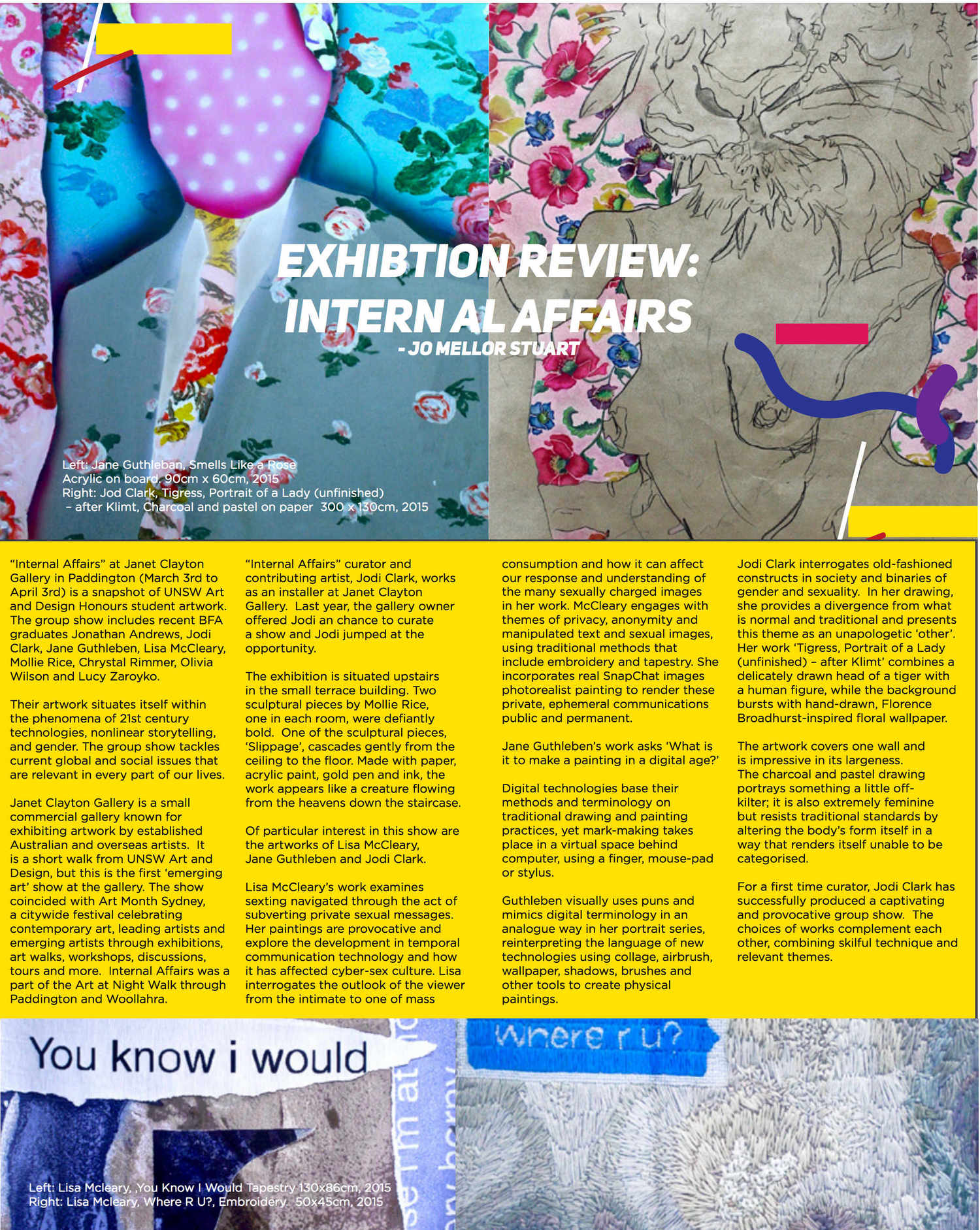 Review of Internal Affairs curated by Jodi Clark in Arcadia, UNSW