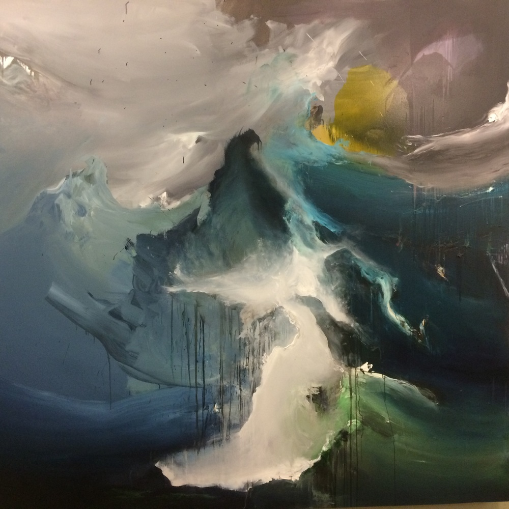 For the record, Adam did not paint this. This is a picture of an abstract landscape I took in a building on campus at DePaul University, called  Snarled and Yelping Sea . If you want to see any of Adam's work,  look here .