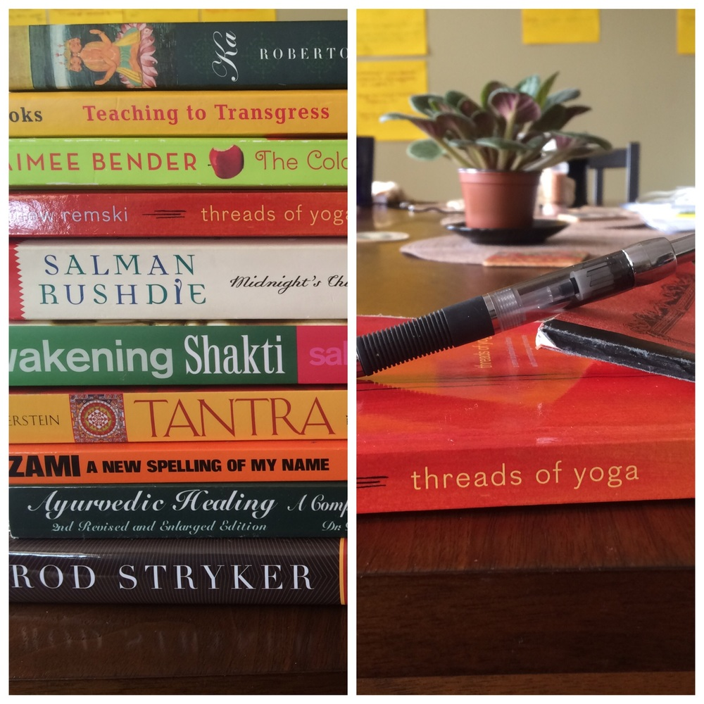 Left side: what I wish I could take to read on vacation. Right side: what I'm actually taking to read on vacation.