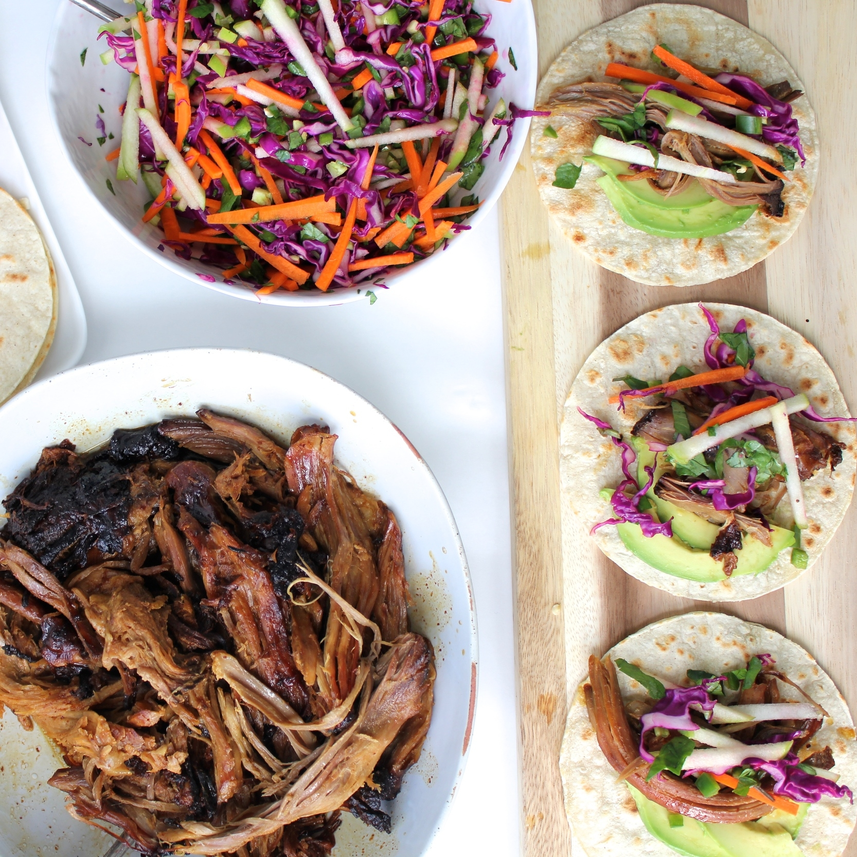 Apple Cider Ginger Braised Pork Shoulder Tacos with Apple