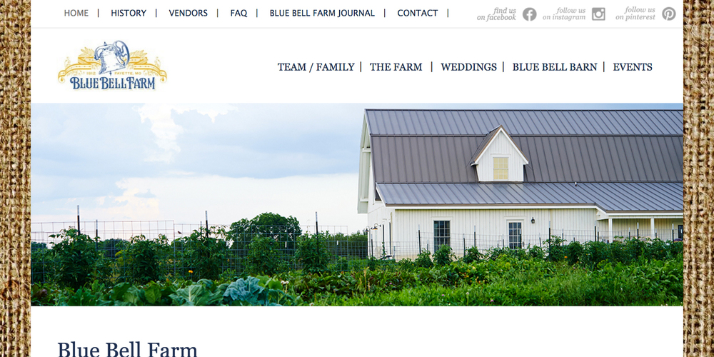 Blue Bell Farm    Website Redesign, Written Content