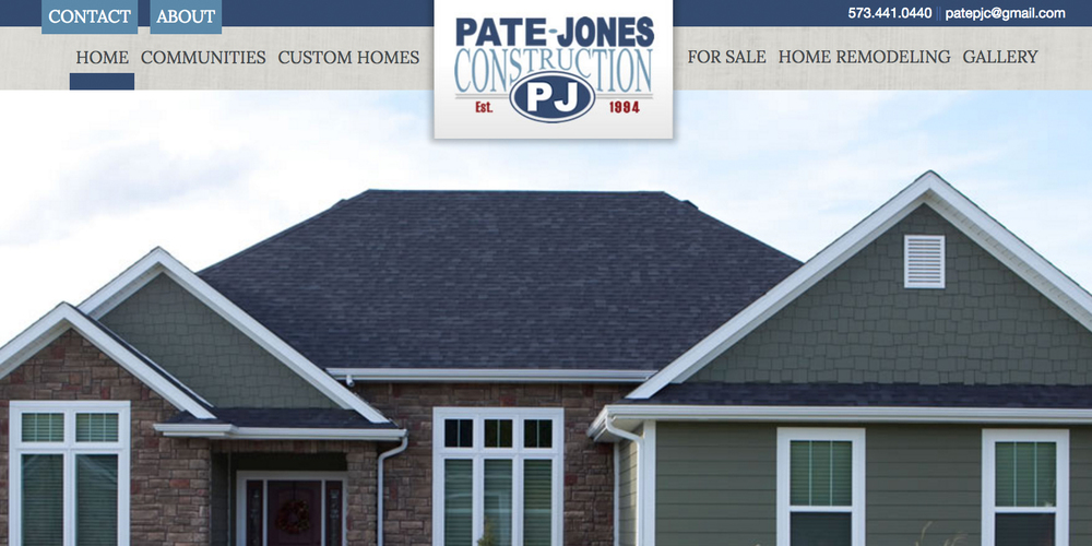 Pate Jones Construction   Complete Website Design, Written Content, Programming Assistance