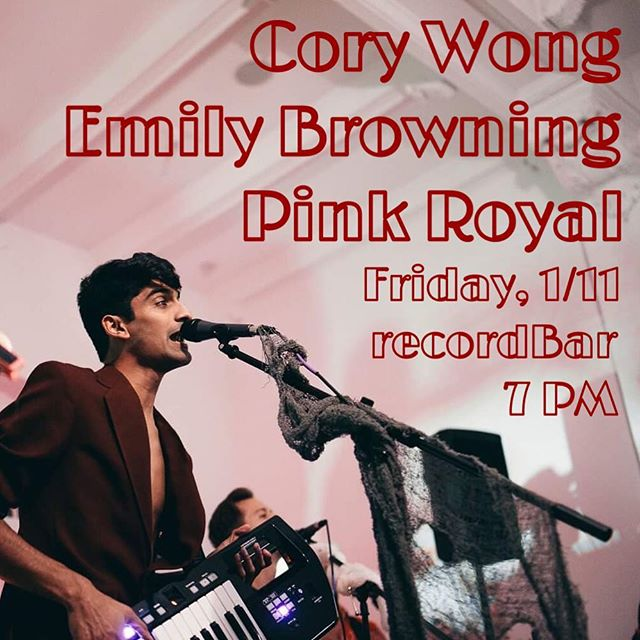 NEXT FRIDAY: We're super pumped to be playing with @coryjwong and @emily.c.browning next Friday 1/11 at @recordbar. Kansas City, let's do it to it!