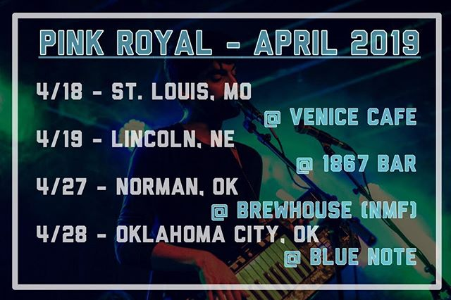 Hitting the road in a few weeks to play some tunes with some of our good pals around the region, and excited to make more friends and see new faces!  4/18 @ Venice Cafe (STL) w/ Brother Francis & the Soul Tones 4/19 @ 1867 Bar (Lincoln, NE) w/ The Other Side of Now and Rock Paper Cities 4/27 @ Brewhouse (Norman Music Fest)  4/28 @ Blue Note (OKC) w/ Foxburrows, Swim Fan, and Sugarcub . . . #midwestmusic #regionalmusic #minitour #indiepop #synthpop #dancepop