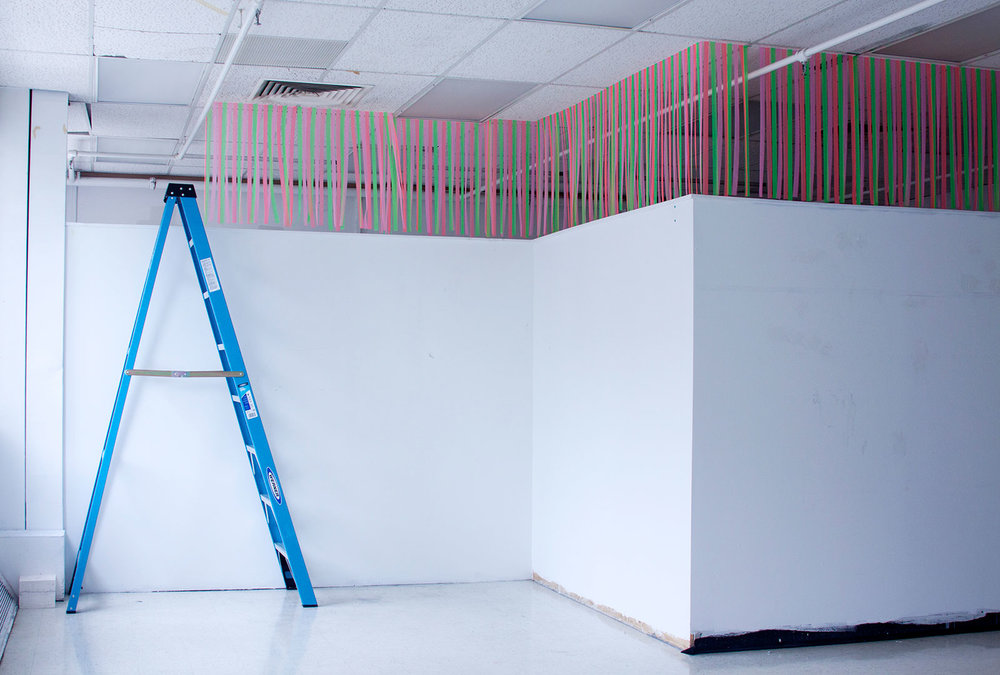 Soft Divider, 2015. Six month installation. Flagging tape, pins, ladder.