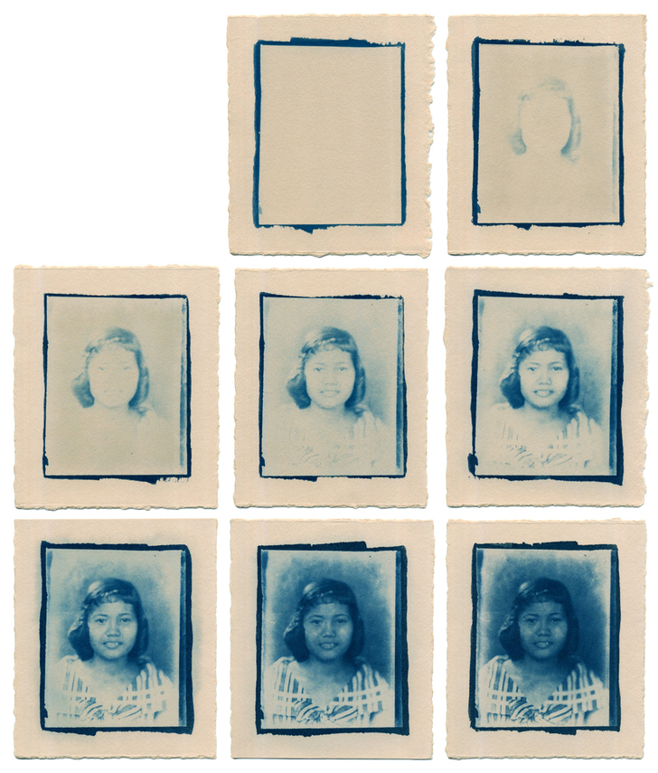 Cyanotypes of my grandmother,  2014. Cyanotype on Stonehenge, 3.75x4.5 in. Sequence of 70 prints.