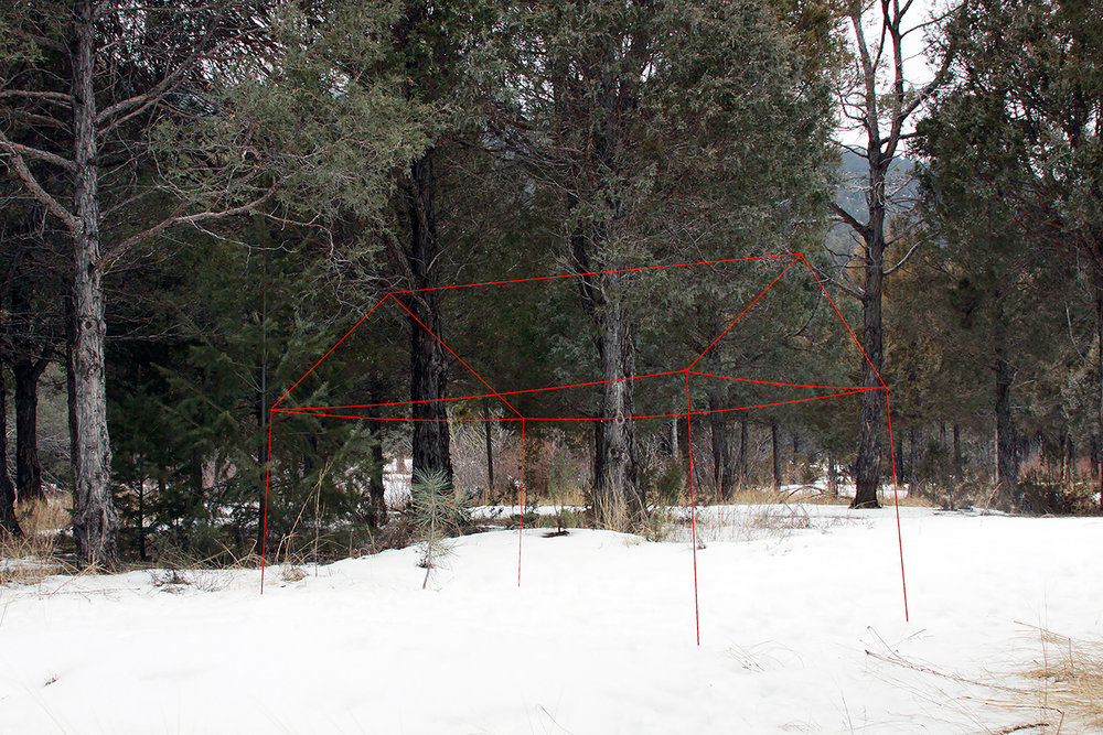 Ghost House (Red Frame),  2015. Yarn and monofilament, temporary installation. Archival pigment print, 17x22 in.