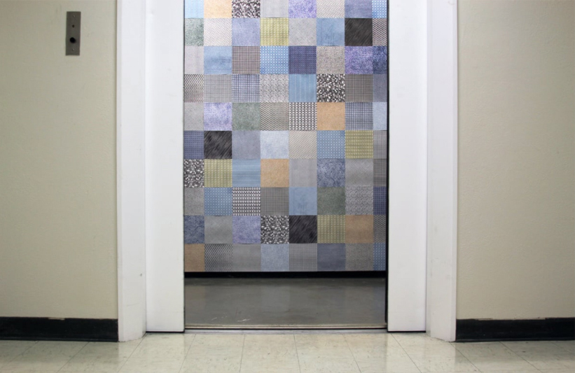 Securely Enveloped , 2013. Security envelope patterns. Temporary elevator installation, dimensions variable.