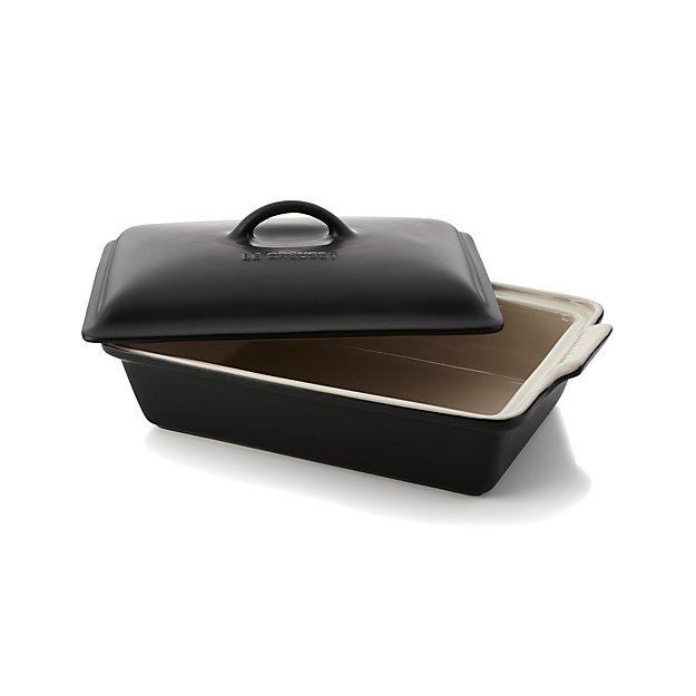Le Creuset Heritage Covered Rectangular Licorice Black Baking Dish - $100
