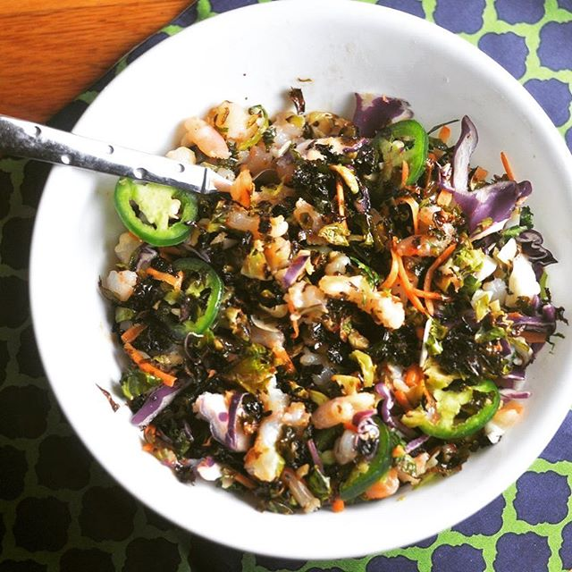 Low carb shrimp and crispy brussels sprouts chopped salad, extra chopped and extra delicious.  My most favorite salad.  Recipe on modernlowcarb.com. 🍤🥗🌶#lchf #huffposttaste #lowcarb #choppedsalad #shrimpsalad #recipe #atkins #jerf #modlowcarb #modernlowcarb #banting #grainfree #glutenfree #paleo #primal #keto #glutenfree #grainfree