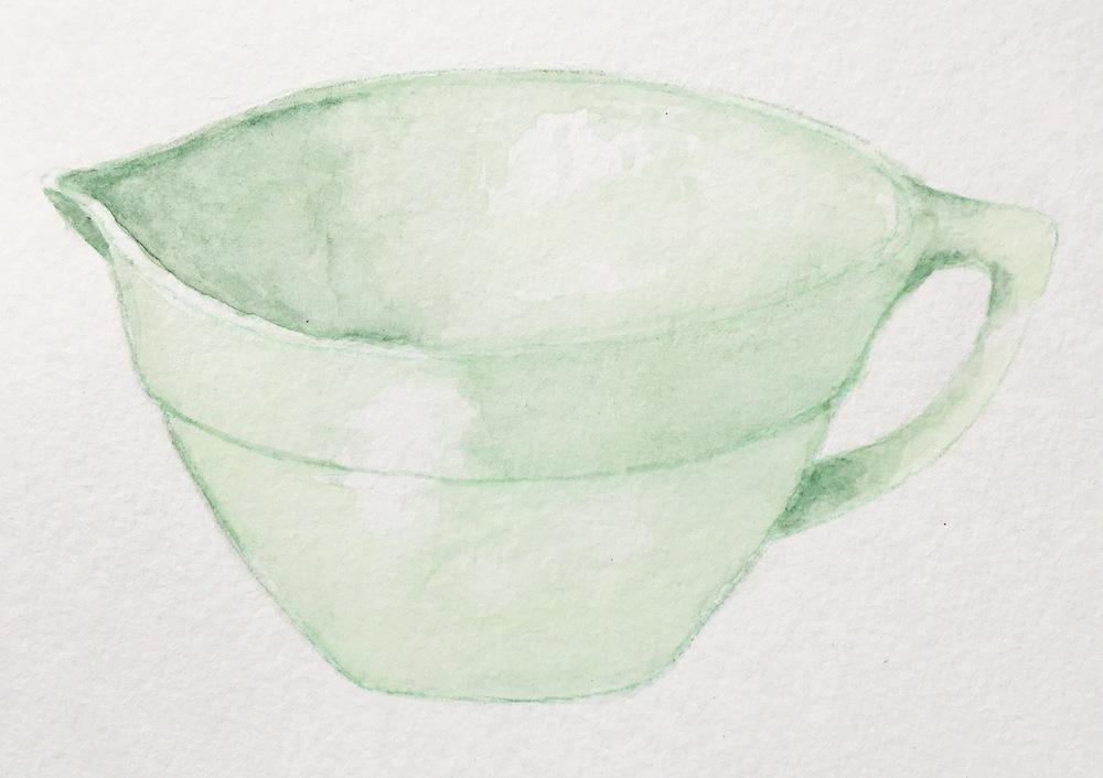 Fire King Jadeite Batter bowl belonged to Mandy's mom's mom, Viola Fossett.