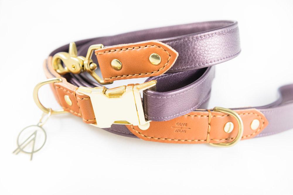 oliveandatlas_dog_collar_and_leash_amethyst.JPG