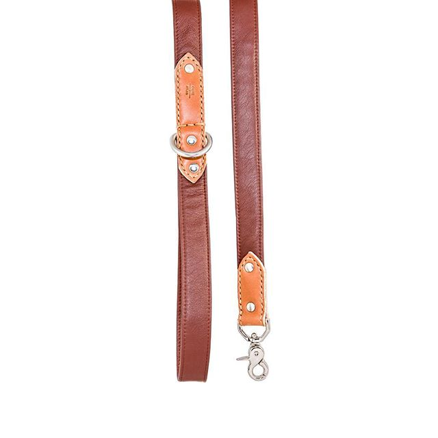 """Auction item #24: SIZE LARGE, """"Rainier Cherry"""" O+A leash, handmade by us with red full-grain leather. Bidding starts at $20. Place bid in comments. Ends 11/16 at 6 PM PST. Winner pays shipping. All sales final. Good luck! — OLIVE + ATLAS"""