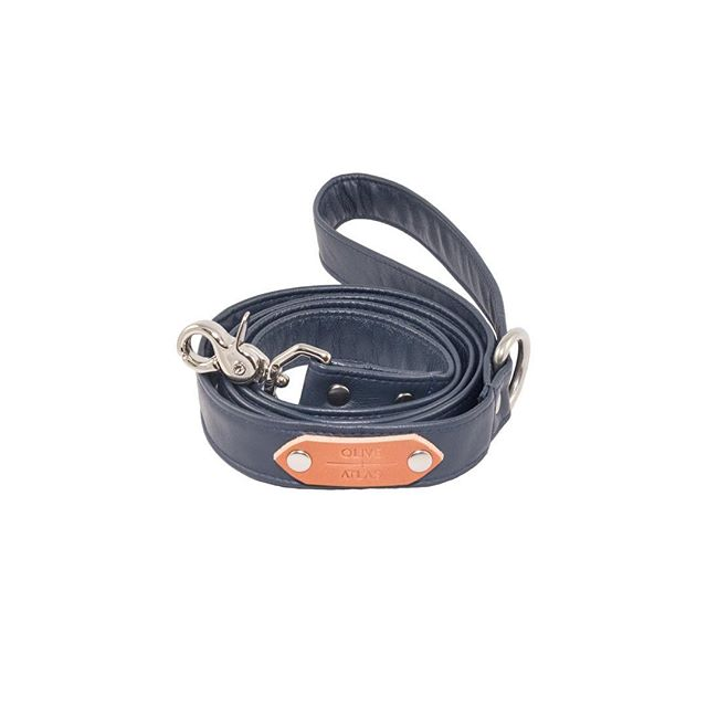 """Auction item #27: SIZE SMALL, """"Navy"""" O+A leash, handmade by us with navy blue full-grain leather. Bidding starts at $20. Place bid in comments. Ends 11/16 at 6 PM PST. Winner pays shipping. All sales final. Good luck! — OLIVE + ATLAS"""
