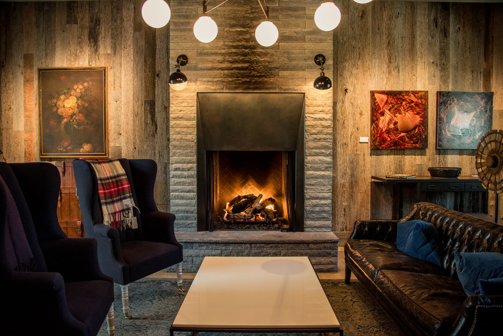 Architectural wedding photography of fireplace in venue in Napa Valley