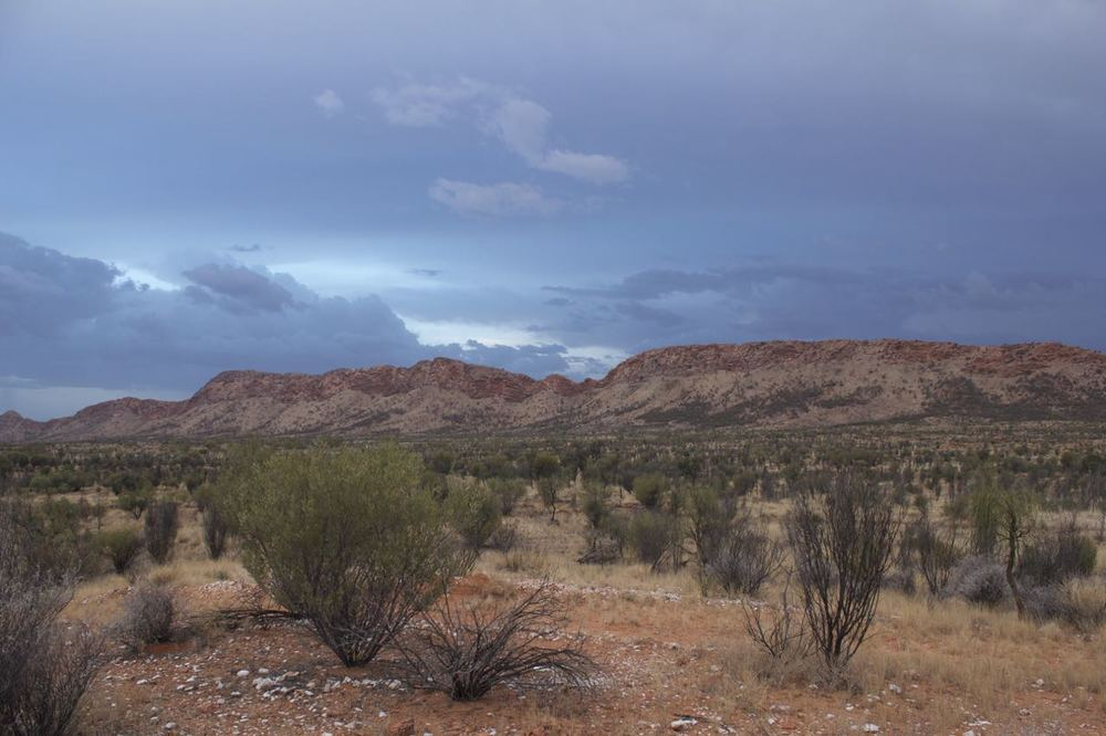 Stormy sunset over the West MacDonnell Ranges, west of Alice Springs, NT.