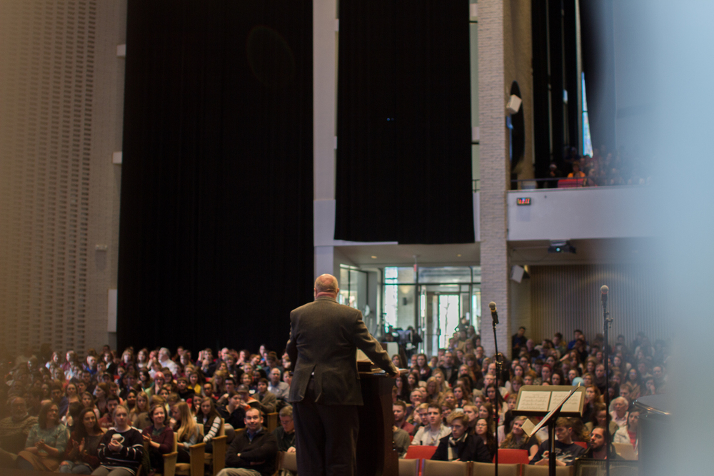 Dr. Dreisbach speaking in chapel, photo by Abby Whisler