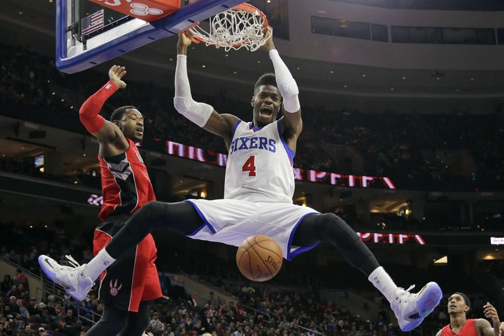 Nerlens Noel dunking against the Toronto Raptors, photo credit: www.phillyvoice.com