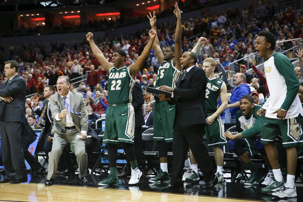 University of Alabama Birmingham celebrates after upsetting Iowa State. Photo credit: www.abcnews.com