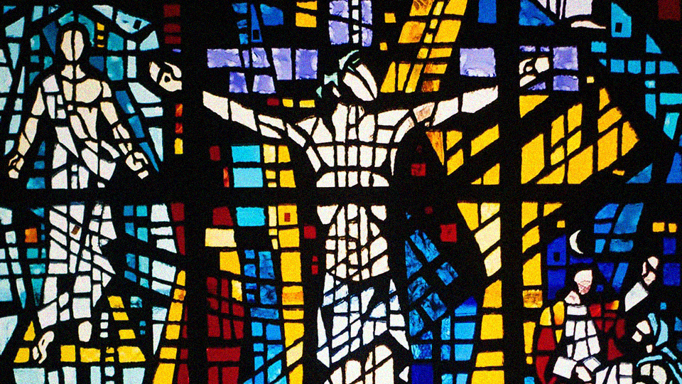 Stained glass in Covenant's chapel.