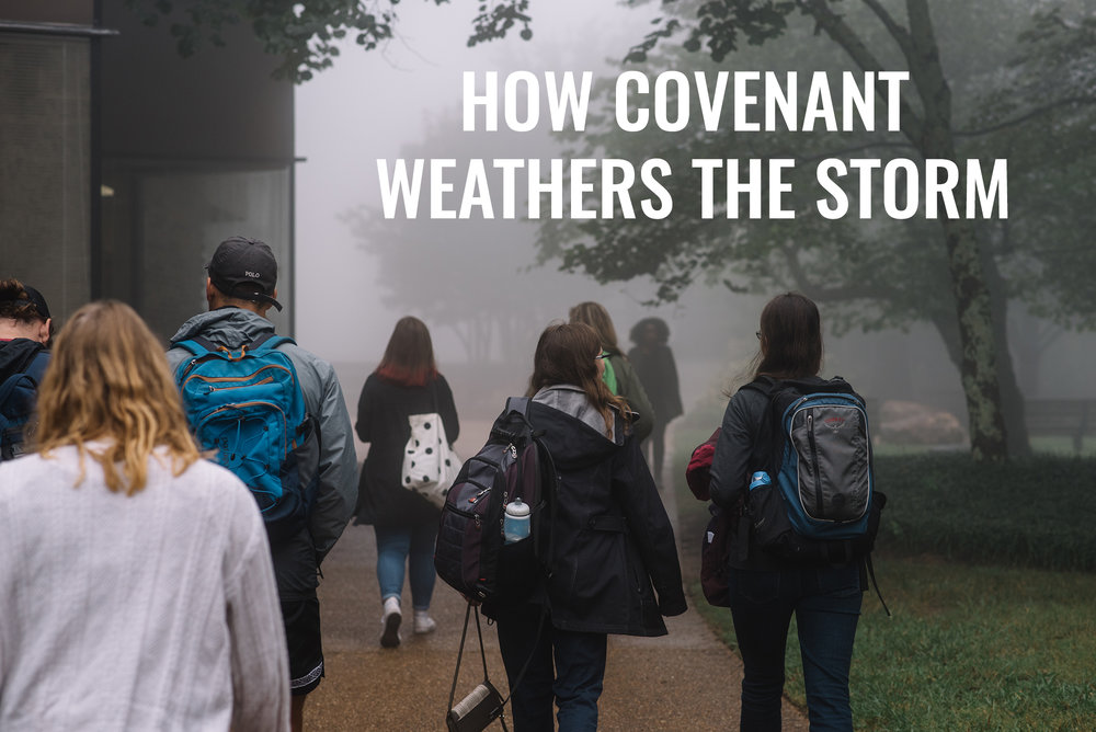 Covenant students walking through fog during weather associated with Hurricane Irma (photo: Reed Schick)